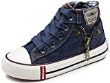 VECJUNIA Boy's Girl's Casual Round Toe Solid Ankle High Zip Up Flats Canvas Sneakers (Navy Blue, 2 M US Little Kid)