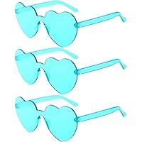 KESYOO 3pcs Cyan Love Heart Shape Sunglasses Rimless Sunglasses for Mardi Gras Summer Party Beach Sunglasses