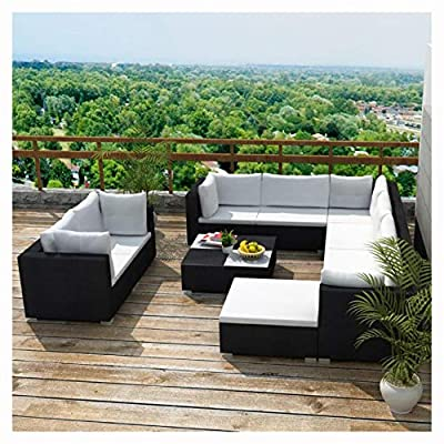 K&A Company Outdoor Furniture Sets, 10 Piece Garden Lounge Set with Cushions Poly Rattan Black