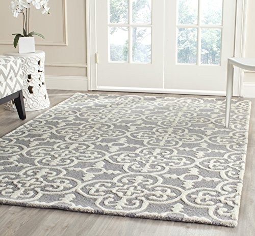 (Safavieh CAM133D-6 Cambridge Collection Area Rug, 6' x 9', Silver/Ivory )
