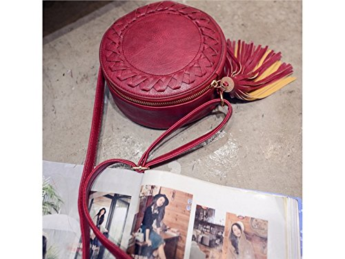 Glower Handbag Leather Shoulder Crossbody Tassel Bag Strap Round with Red Sun Women FXdHH
