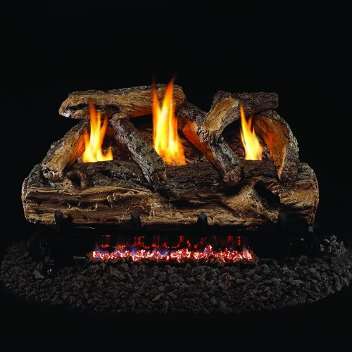 Peterson Real Fyre 24-inch Split Oak Log Set With Vent-free Natural Gas Ansi Certified G9 Burner - Variable Flame Remote