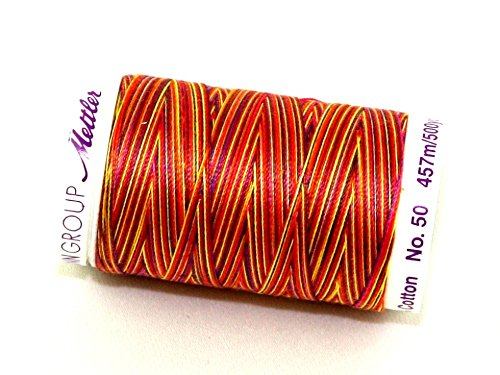 each Mettler No 50 Silk Finish Multi Cotton Quilting Thread 457m 457m 9841 Smiley Mix