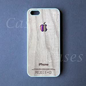 WOOD IPHONE5CASE APPLE COLORFUL Logo Iphone 5 Cover LOVELY Cute Pretty BEST COOLEST