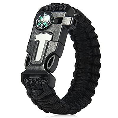 Wooboo 5 in 1 Outdoor Survival Gear Escape Paracord Bracelet Flint Whistle Compass Scraper