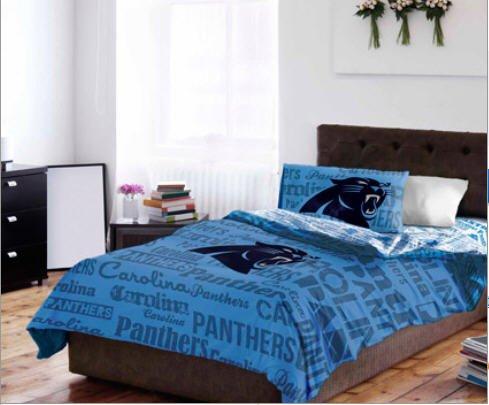 Carolina Panthers NFL Twin Comforter & Sheet Set 4 Piece Bedding