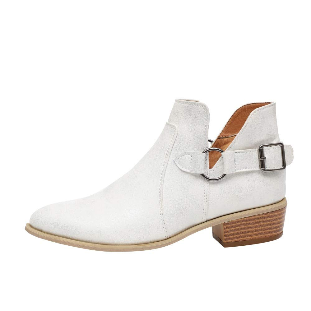 LONGDAY ⭐ Ankle Boots Pointed Toe Faux Leather Stacked Low Heel Slip On Booties Highline Chelsea Boot PU Chukka Boot White