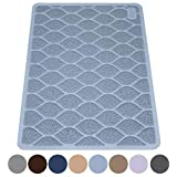 "MIGHTY MONKEY Premium Cat Litter Trapping Mats, Phthalate Free, Best Scatter Control, Jumbo XL Sizes (35"" x 23""), Mat Traps Litter, Easy to Clean, Soft on Kitty Paws (Light Blue)"