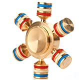 Sunnytech Fidget Spinner Toy EDC Brass Hand Spinner DIY Puzzels for ADHD Anxiety Autism Boredom HS03