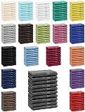 Betz Lot de 10 serviettes d'invités serviette invité taille 30x50 cm en 100% coton Premium color noir