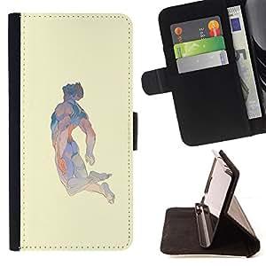 BullDog Case - FOR/LG OPTIMUS L90 / - / MAN FLYING DREAM ABSTRACT ART HERO BODY /- Monedero de cuero de la PU Llevar cubierta de la caja con el ID Credit Card Slots Flip funda de cuer