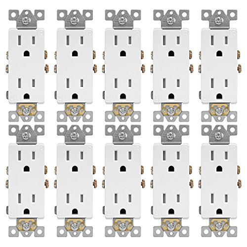 ENERLITES Decorator Receptacle Outlet, Tamper-Resistant, Residential Grade, 3-Wire, Self-Grounding, 2-Pole, 15A 125V, UL Listed, 61501-TR-W-10PCS, White (10 - Square Outlet