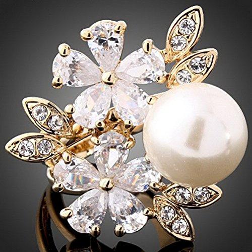 Neil Diamond Costume (Superhai Oversized Pearl CZ Diamond AAA Grade Zircon Flower Ring)