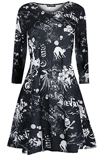 [Womens Ladies Halloween Round Neck Long Sleeves Swing Flared Baggy Mini Dress] (Witch Dresses)