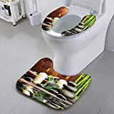 Jiahonghome Toilet seat Cover Zen Basalt Stones and Bamboo Wood Soft Non-Slip Water