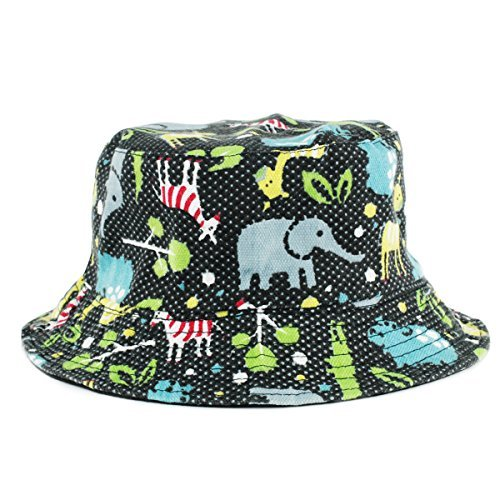 3ab47455aa3b9 UER Women Teen Fashion Animal Print Canvas Bucket Hat Fishing Cap (black2)