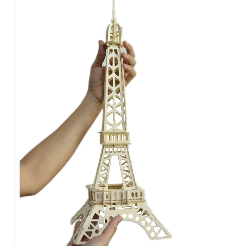 Eiffel Tower Jigsaw Puzzle-Smilelove 3D Assembly Wooden Puzzle Architecture Model Toy for Kids