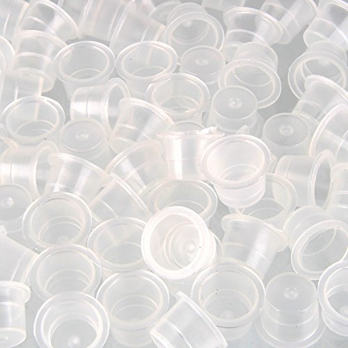 Beauty7 100PCS Plastic Large 16mm Tattoo Ink Cups Caps Tattoo Pigment Supplies for Needle Tip Grip