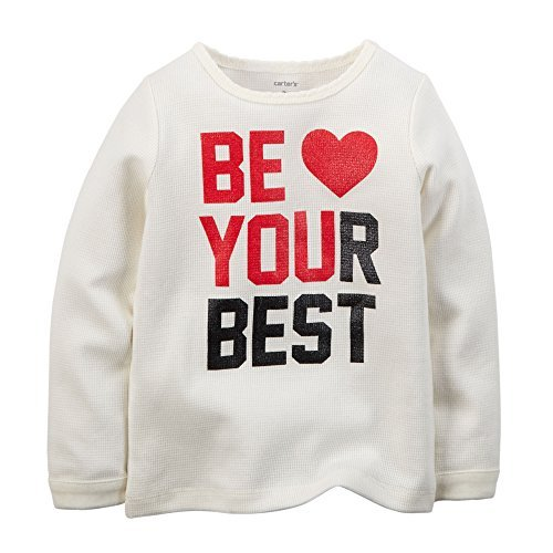 Heart Tee Thermal - Carter's Little Girls' Thermal Tee Top Be Your Best (5T, Ivory)