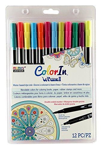 Tip Double America Marker (Uchida 12 Piece Colorin Le Plume II Coloring Book Pens, Bright)