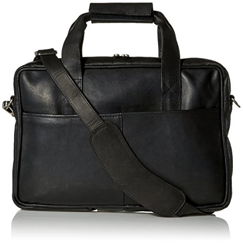 Piel Leather Top-Zip Portfolio, Black, One Size ()