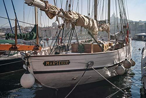 France, Photography, Marseille, sailboat, harbor, Wall Art, Art Print, Gift, Photo, Decor, port, Notre Dame de la Garde, water