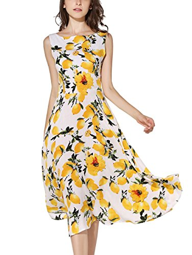 [KIMILILY Women's Sleeveless Summer Lemon Printed Party Garden Swing Dresses (M, Lemon Yellow)] (Rayon Womens Party Dress)