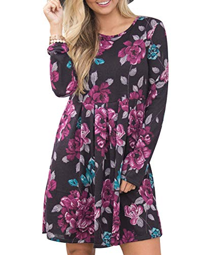 Midi Pleated Swing Legging Pocket Print Dress Women's for with Casual Purple Sleeve Black Long Tunic Floral Shirt Dress qHZwvtA