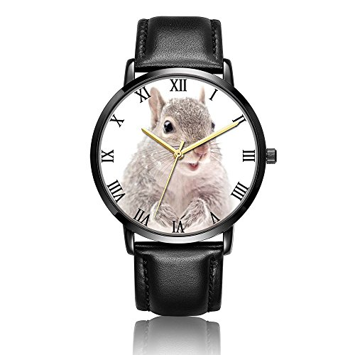 Whiterbunny Customized Gray Squirrel Wrist Watch Unisex Analog Quartz Fashion Black Leather Strip/Black Dial Plate for Women and Men