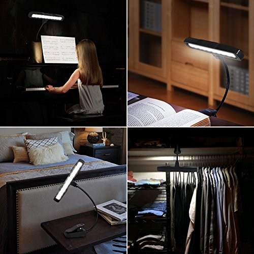 Kootek 2 Pack Clip On Reading Light - 10 LED Rechaegeable Book Lights, Music Stand Light Piano Orchestra Lamp with Adjustable Neck USB Desk Lamps by Kootek (Image #6)