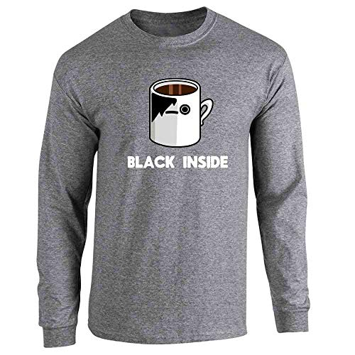Emo Coffee Black Inside Funny Graphite Heather 3XL Long Sleeve T-Shirt