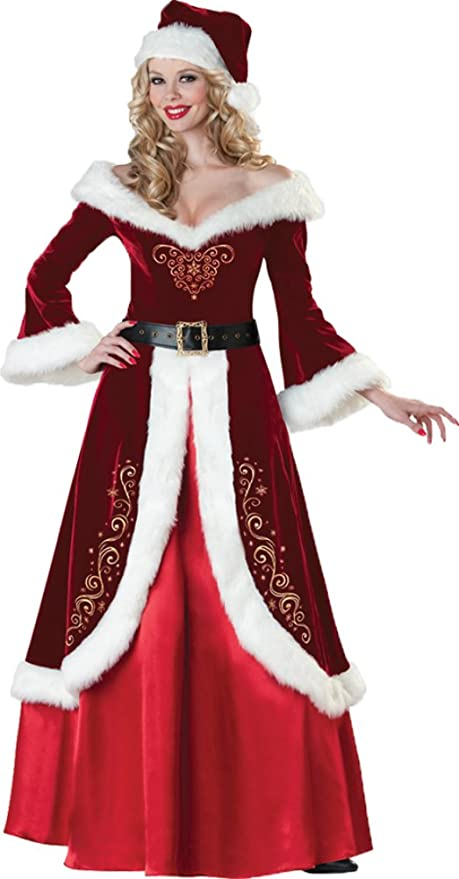 Victorian Costumes: Dresses, Saloon Girls, Southern Belle, Witch Christmas Mrs. St. Nick Santa Claus Professional Quality Adult Womens Costume $328.02 AT vintagedancer.com