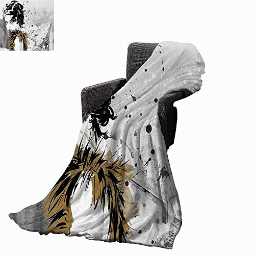 vanfan-home Modern Decorative Throw Blanket,Posing Fashion Model Girl with Feathers and Dots Paris Eiffel Contemporary Artful Soft,Colorful Blanket for Travel Use(60