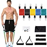 NICEAO Resistance Bands Set, Exercise Band with Handles Ankle Straps Door Anchor, Non-Slip Heavy Up to 100 LBS, for Stretch Resistance Training, Physical Therapy, Home/Gym Workouts, Men& Women