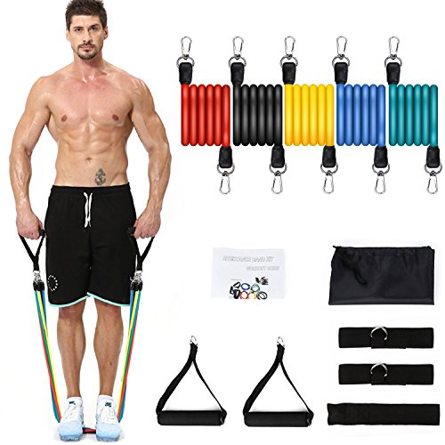 NICEAO Resistance Bands Set, Exercise Band with Handles Ankle Straps Door Anchor, Non-Slip Heavy Up to 100 LBS, for Stretch Resistance Training, Physical Therapy, Home/Gym Workouts, Men& Women by NICEAO