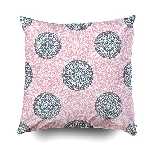 GROOTEY Decor Pillow, Square Pillow Covers with Zip Couch Sofa Décor Ethnic Pattern Arabesque Rapport Print Calico Chintz Wallpaper Damask Motif in Vintage Style 20X20 Throw Cushion