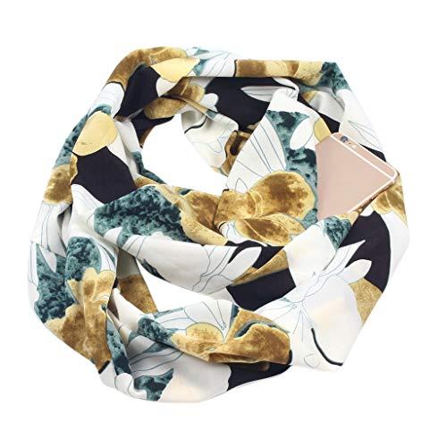 Shoresu Womens Double Layer Secret Hidden Zipper Pocket Infinity Loop Scarf Boho Style Floral Geometric Striped Printed Contrast Color Winter Ring Blanket Wrap Shawl - D3# 8018+Blue