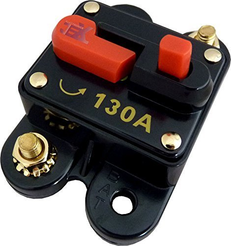 Jex Electronics 130 Amp In-Line Circuit Breaker Stereo/Audio/Car/RV 130A/130AMP Fuse 12V/24V/32V