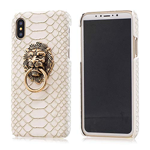 Case Creative Clear - BONTOUJOUR iPhone XS Max Case, Creative Chinese Noble Lion Head Door Style Phone Case with Ring Phone Holder at Back, Ultra Slim Strong Protection -White