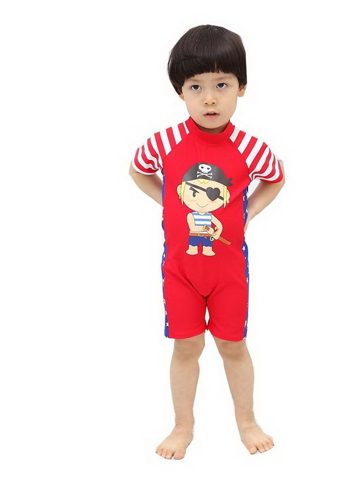 Private Boys Body Suits Red Sun Protective Swimsuit One Piece, 5-6 Years Old PANDA SUPERSTORE PS-SPO2420245011-EMILY00863