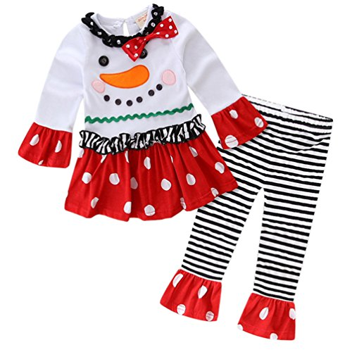 Theplus Toddler Girls Cute Snowman Christmas Outfits Long Sleeve Pant Sets 4T