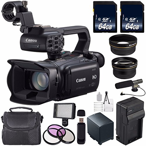 Canon XA25 Professional HD Camcorder #8443B002 (International Model) + 64GB SDXC Class 10 Memory Card + BP-820 Replacement Lithium Ion Battery + External Rapid Charger Bundle by 6Ave
