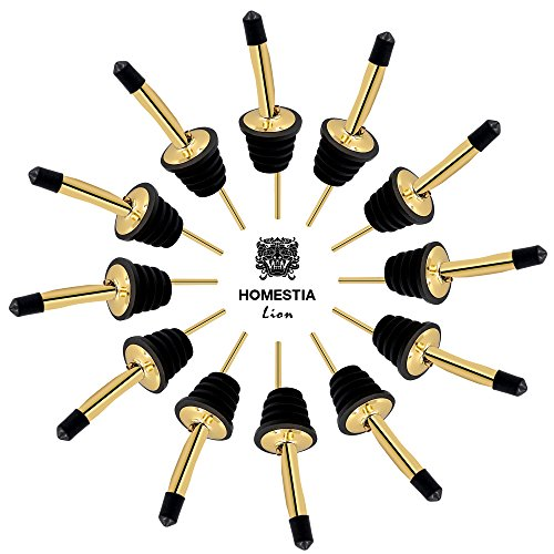 Bottle Pour Spout 12 Pack Stainless Steel Cocktail Pourer with 15 Dust Caps by Homestia, Gold by Homestia