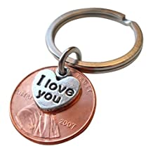 I Love You Heart Charm Layered Over 2007 Penny Keychain 10 Year Anniversary Gift