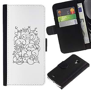 KingStore / Leather Etui en cuir / Samsung Galaxy S4 Mini i9190 / Dibujo minimalista de dibujos animados