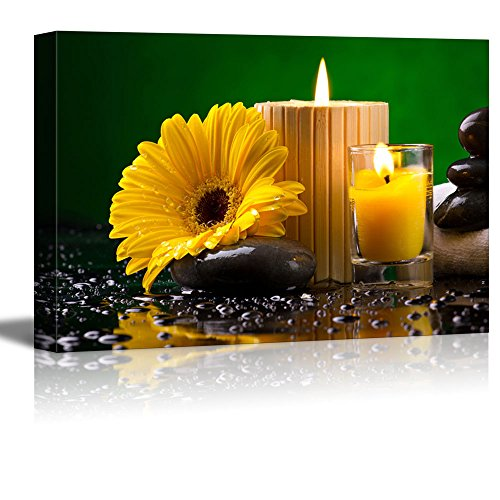 Spa Still Life with Yellow Flower Candles Pebble and Water Drop Wall Decor