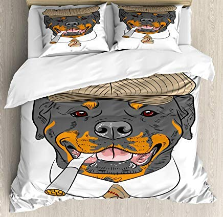Rottweiler Duvet Cover Set Twin Size - Funny Gentleman Hipster Dog in a Brown Cap with a Tie and a Cigarette Portrait - Decorative 3 Piece Bedding Set with 2 Pillow Shams - Multicolor
