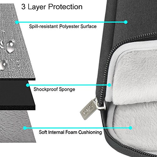 MOSISO Laptop Shoulder Bag Compatible 15-15.6 Inch MacBook Pro, Ultrabook Netbook Tablet, Polyester Ultraportable Protective Briefcase Carrying Handbag Sleeve Case Cover, Black by MOSISO (Image #2)