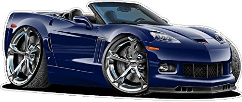 2012 Corvette Grand Sport Supersonic WALL DECAL 2ft long Vinyl Reusable Movable Fun Stickers for Boys Classic Cartoon Cars Home Decor