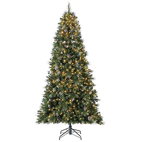 Home Heritage Lincoln 6.5 Ft 400 LED Bulb Christmas Tree w/Pine Cones & Glitter